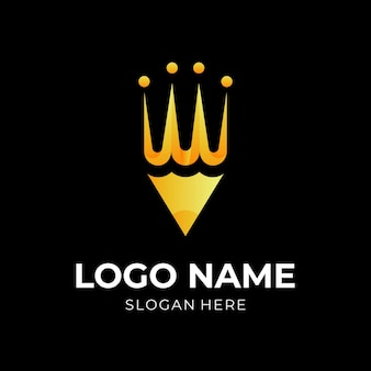 Logo de crayon de luxe, crayon et couronne, logo combiné avec style de couleur or 3d