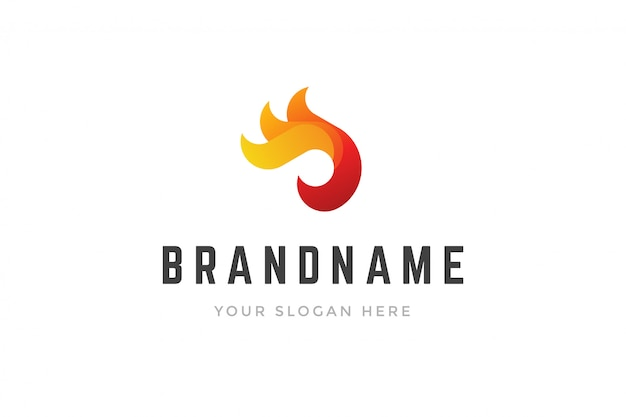 Logo créatif abstrait formes de flammes de feu 3d