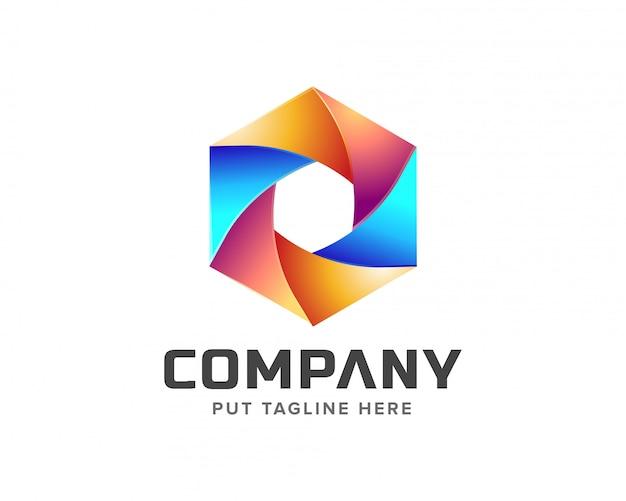 Logo créatif coloré d'hexagone