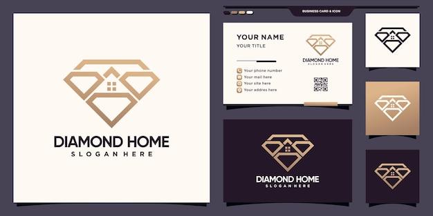 Logo créatif de diamant et de maison avec style de dessin au trait et conception de carte de visite