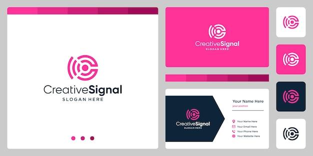 Logo créatif de la lettre c initiale avec le logo du signal wifi. modèle de conception de carte de visite