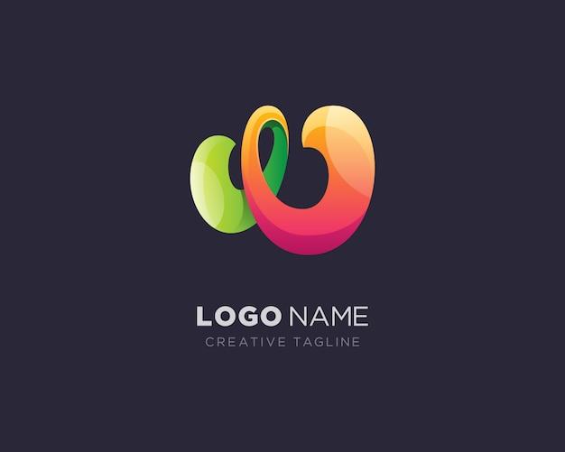 Logo créatif lettre w abstrait