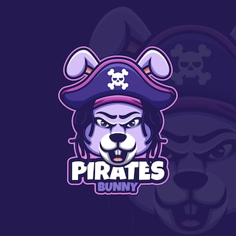 Logo créatif de mascotte de dessin animé de pirates de lapin