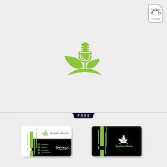 Logo créatif de podcast eco leaf