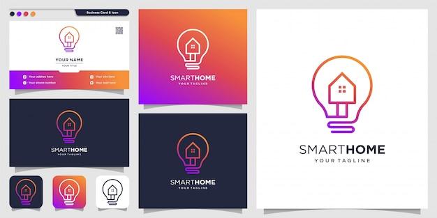 Logo créatif pour modèle de conception de maison intelligente et de carte de visite, maison, intelligent, créatif