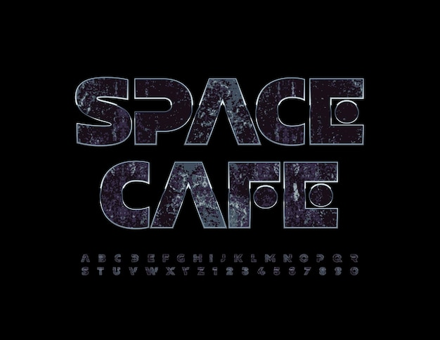 Logo créatif vectoriel space cafe style futuriste polices cosmic set of alphabet letters and numbers