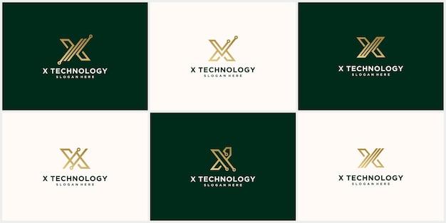 Logo créatif x monoline, logo connecté couleur or x lettre de luxe x icône