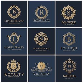 Logo de crests. design de logo de luxe pour hôtel, immobilier, spa, identité de marque de mode