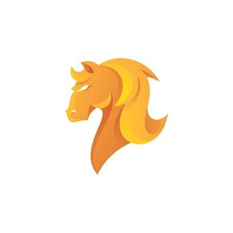 Logo de crinière de cheveux de tête d'étalon de cheval avec la couleur de gradient