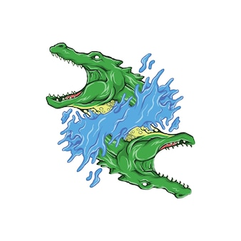 Logo crocodile avec concept ambigram