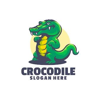Logo de crocodile mignon avec un dessin animé simple