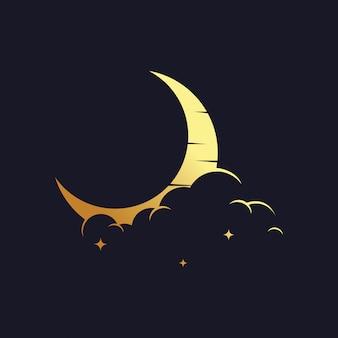 Logo croissant de lune d'or