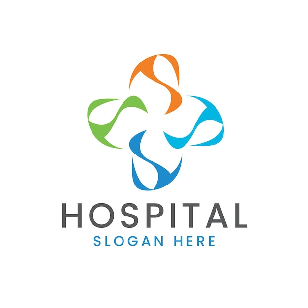 Logo croix de l'hôpital avec des éléments technologiques modernes colorés