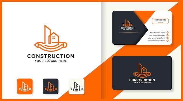 Logo de croquis de construction avec stylo longitudinalement et conception de carte de visite