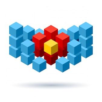 Logo de cubes bleus avec segments rouges