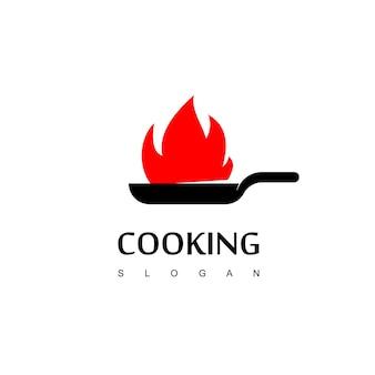 Logo de cuisine avec symbole de téflon brûlé