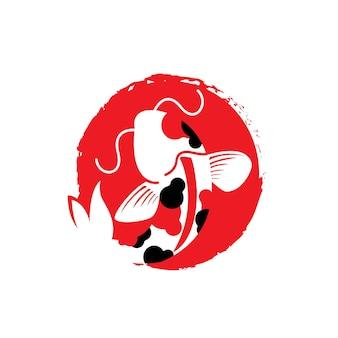 Logo de la culture japonaise de la nourriture du festival du poisson koi