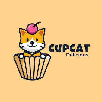 Logo cup cat style de mascotte simple.