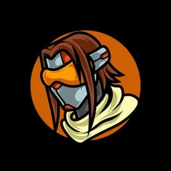 Logo cyber fille gamer sport