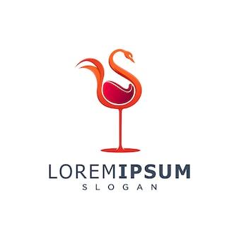 Logo de cygne de vin