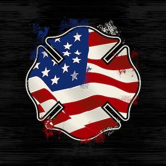 Logo de pompier de silhouette de fond de détresse