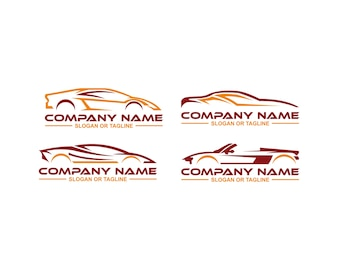 Logo de voiture en ligne graphique propre et simple conçu