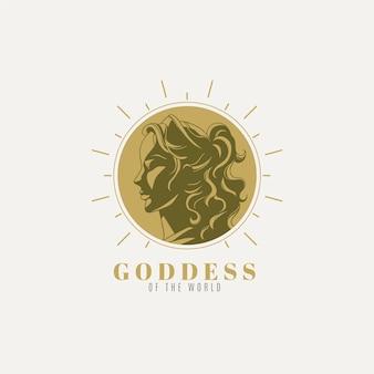 Logo de la déesse détaillée avec des éléments dorés