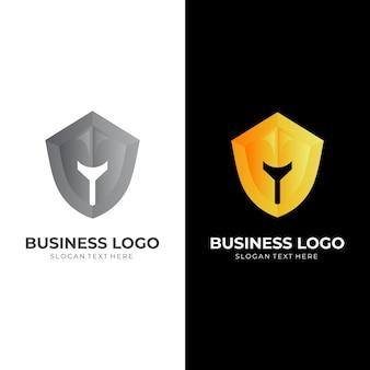 Logo de défense spartiate, casque et bouclier, logo combiné avec style de couleur argent et jaune 3d