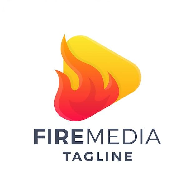 Logo dégradé 3d de lecteur multimédia de feu