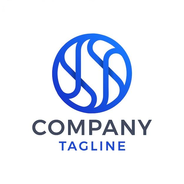 Logo dégradé bleu 3d abstrait cercle moderne monoline lettre s