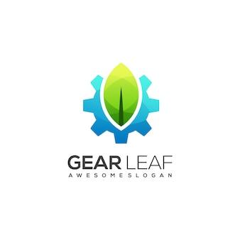 Logo dégradé coloré engrenage et feuille génial