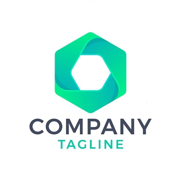 Logo dégradé empilé hexagone moderne abstrait