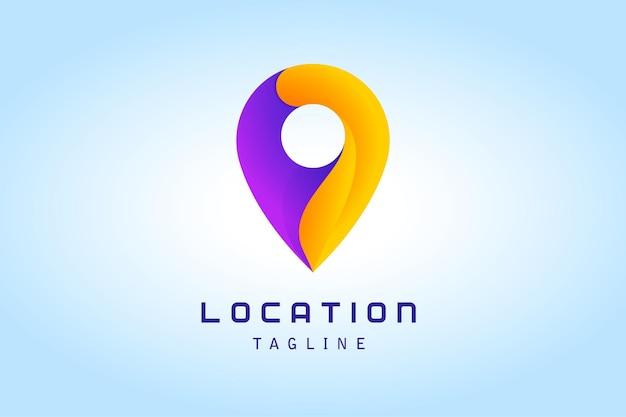 Logo dégradé d'emplacement de broche violet orange