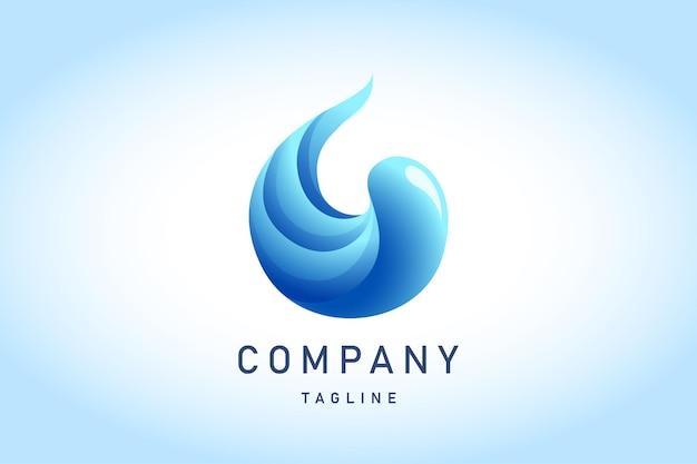 Logo dégradé de goutte d'eau bleue