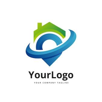 Logo dégradé maison et lieu vecteur premium