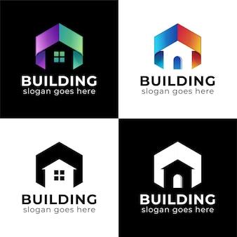 Logo dégradé moderne du logo de la collection de maisons de construction avec versions noires