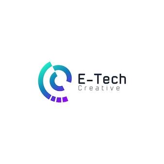 Logo dégradé moderne de la technologie lettre e