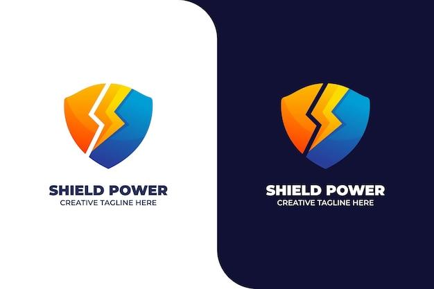 Logo de dégradé de protection d'armure thunder shield