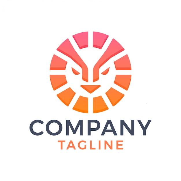 Logo dégradé de tête de lion de soleil moderne