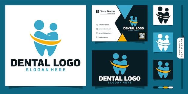 Logo dentaire avec concept moderne de personnes et conception de carte de visite