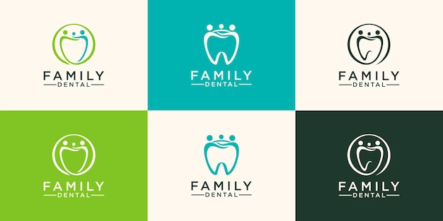 Logo dentaire familial modèle vectoriel de conception abstraite de dent style linéaire.