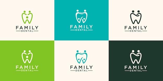 Logo dentaire de personnes modèle vectoriel de conception abstraite de dent style linéaire.