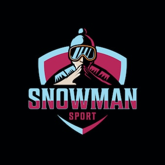 Logo design bonhomme de neige pour le sport