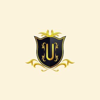 Logo design concept décoration lettre u