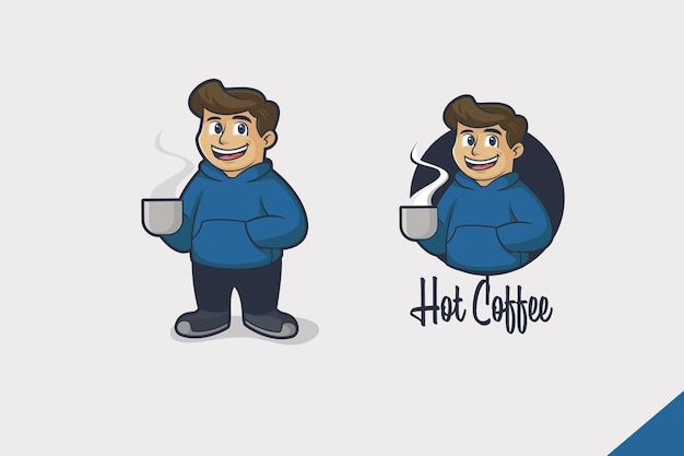 Logo de dessin animé de boisson chaude