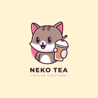 Logo de dessin animé chat montrant boisson coupe
