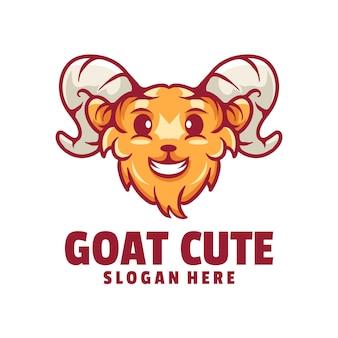 Logo de dessin animé de chèvre mignon