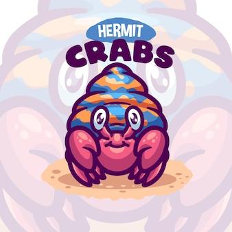 Logo de dessin animé de créature de mer de crabe ermite