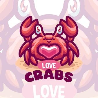 Logo de dessin animé de créature de mer de crabe