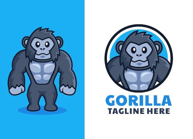 Logo de dessin animé de gorille sympathique musculaire